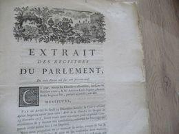 Extrait Registres Du Parlement 03/02/1769 à Propos De L'Arrêt Du 23/11/1768 - Decretos & Leyes