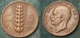 M_p> Regno Vitt Eman III° 5 Centesimi 1937 Spiga BELLA Conservazione, NON COMUNE - 1861-1946 : Regno