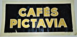Rare Glassoïd Pillon à Ivry Cafés Pictavia Années 20-30 Format 15 X 30 Cm  Publicitaire Guy Bourlat à Poitiers - Advertising (Porcelain) Signs