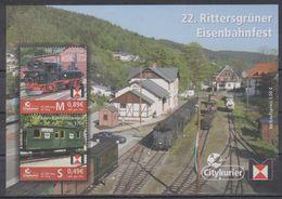 Moderne Privatpost: Citykurier Gera 2012. 22. Rittersgrüner Eisenbahnfest: BR99579, Bahnpostwagen Nr. 1700, Mi Block 12 - Trains
