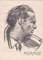 Rosette Chatriot - Portrait De MERMOZ Au Fusain Sur Papier Cartonné - 30, 5 X 20, 5 Cm - 1940 - Dessins