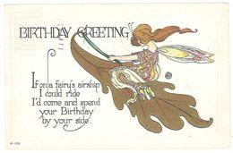Cpa Birthday Greeting ( Anniversaire ), Femme Sur Feuille Volante, Gaufrée - Cumpleaños