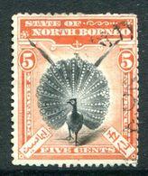 North Borneo 1897-1902 Pictorials - 5c Great Argus Pheasant - P.14½-15 - Postally Used (SG 100a) - Bornéo Du Nord (...-1963)