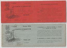 """Société De Pêche """" La Fertoise """"carte D'idendité Année 1929 - 1930 - Vecchi Documenti"""