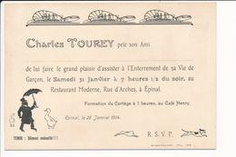 Carte D'invitation D'enterrement De Vie De Garçon CHARLES TOUREY Au Restaurant Moderne Rue D'arches à EPINAL - Faire-part