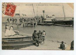"""33 ARCACHON Débarcadere Arrivéev Bateau Voyageurs """" Ville De Rochefort """" Débarquement  1908 Timb    D15 2020 - Arcachon"""