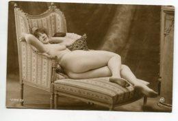 NU French Charm 103 Jean  AGELOU JA Série 92 Jeune Femme Nue Fesses Montrées Allongée Fauteuil Pouf    - EROTISME - Fine Nudes (adults < 1960)