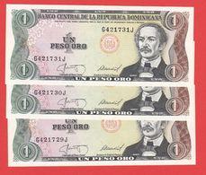 DOMINICAINE REPUBLIQUE Liasse De 3 Billets Avec N° Serie Se Suivent  - 1 Peso Oro De 1987  - Pick 126 - República Dominicana