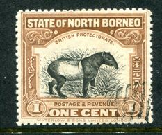 North Borneo 1909-23 Pictorials - 1c Tapir - P.13½-14 - CTO Used (SG 158) - Bornéo Du Nord (...-1963)