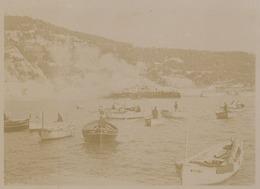 """Villefranche-sur-mer. Le Cuirassé Amiral """" Brennus """" Saluant (visites Officielles). Tirage Citrate Circa 1900. - Photographs"""