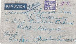 Yvert N°656(4f.Iris Bleu) Seul Sur Lettre Pour Un Militaire à HANOI INDOCHINE - Marcophilie (Lettres)
