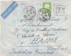 Yvert N°698(10f.Marianne De Dulac) Seul Sur Lettre Pour Un Militaire à HANOI INDOCHINE - Marcophilie (Lettres)