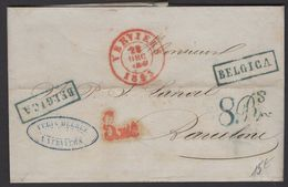 Belgique: Pli De 1853 En Port Du  Avec CàDate Rouge De VERVIERS Pour BARCELONA Avec Taxes Espagnoles - 1830-1849 (Unabhängiges Belgien)