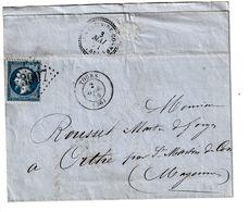 Enveloppe 1864 Napoleon, De Tours - 1862 Napoléon III.