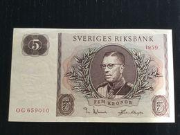 SWEDEN 5 KRONOR BANKNOTE 1959 AUNC P-42d - Suède