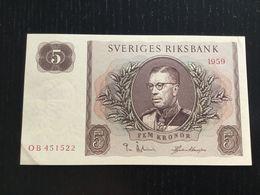 SWEDEN 5 KRONOR BANKNOTE 1959 AU P-42d - Suède