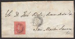 Espagne: Pli De 1864 En Avec Timbre 4 Cs Rouge/rose Oblt Petit CàDate VILLAFRANCA BARCELONA  P St MARTIN SARROCA - Cartas