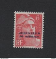 Faux Timbre De Guerre Gandon N° 721 6 F Surchargé JERUSALEM 20 Millièmes Gomme Sans Charniére - 1945-54 Marianne Of Gandon