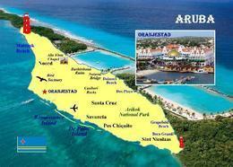 Aruba Island Map New Postcard Insel Landkarte AK - Aruba