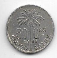 Belgium Congo 50 Centimes 1925 French Km 22 Vf - Congo (Belgian) & Ruanda-Urundi
