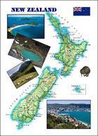 New Zealand Country Map New Postcard Neuseeland Landkarte AK - Nueva Zelanda