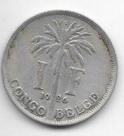 Belgium Congo 1 Franc  1926 French Km 20   Vf - Congo (Belgian) & Ruanda-Urundi