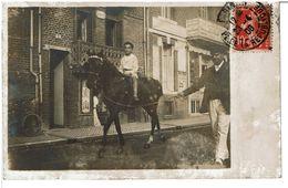 CARTE PHOTO Jeune Garçon Promenade à Cheval  ( Peut être Un Cirque  ) - Place De La République Paris 1908  à Identifier - Breeding