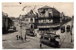 Limoges Bd Carnot Carrefour Tourny Av; Garibaldi Café De L'Univer Tramways Cachet Militaire WW1 Scans Recto/verso - Limoges