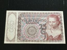NETHERLANDS HOLLAND 25 GULDEN BANKNOTE 1943 AU P-60 - [2] 1815-… : Kingdom Of The Netherlands