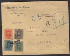 Espagne: Enveloppe Recommandé Avec 10c +15c +30c +50c Typo Vaquer Oblt CàDate CERTIFICADO BARCELONA  P CANNES - Briefe U. Dokumente