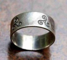 "Bague Bretonne Jonc ""motifs Celtiques Triskell"" Bretagne Argent 800 Taille 54 - Celtic Silver Ring - Silberring - Bagues"