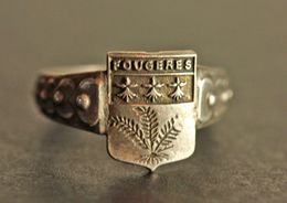 """Bague Vintage Chevalière Argenté Années 20 """"Armoiries Fougères - Bretagne"""" 19.5mm - T61 - Brittany Celtic Ring - Bagues"""