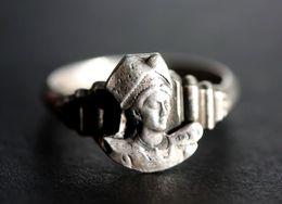 """Bague Vintage Chevalière Argenté Années 20 """"Bretonne En Coiffe - Bretagne"""" 19.5mm - T61 - Brittany Ring - Bagues"""