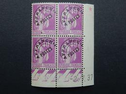 FRANCE - Préo N°70** Type Paix 40c - Coin Daté 2/7/37. Neuf Sans Charnière. Signature Brun. - Préoblitérés