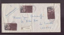 Monaco, Enveloppe Recommandée Du 22 Juillet 1977 De Monaco Pour Cannes - Brieven En Documenten