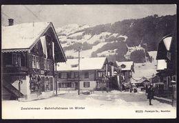 1906 Gelaufene AK Aus Zweisimmen, Bahnhofstrasse Im Winter. - BE Bern