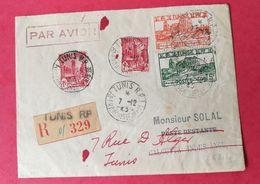 Tunisie. Enveloppe. Recommandé De Tunis Pour Calcutta Inde - Covers & Documents