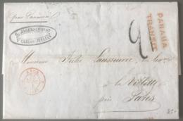 Lettre De Valparaiso 25 Juillet 1851 Pour La Villette - TAD ANGL. 2 CALAIS 2 - PANAMA TRANSIT - (B2922) - 1849-1876: Classic Period