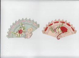 Cartes En Forme / Eventail / Lot De 2 / Carte Dentelle Avec Ajoutis Découpis / Circa 1900 - Vieux Papiers