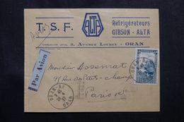 ALGÉRIE - Enveloppe Commerciale De Oran Pour Paris En 1937, Affranchissement Plaisant -  L 63668 - Cartas