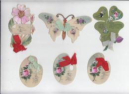 Fantaisie Celluloid / Lot De 6 / Circa 1900 / Bonne Fete, Amitié, Porte Bonheur / Bel Et Rare Ensemble - Vieux Papiers