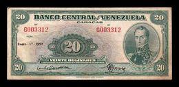 Venezuela 20 Bolívares Simón Bolívar 17.01.1952 Pick 32a BC/+ F/+ - Venezuela