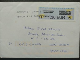 France - Meter Franking Cover To Portugal EMA ATM 2019 Bar Code - 2000 «Avions En Papier»