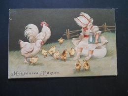 Petite Fille élégante Avec Un Livre Assise Dans Un Pré Avec Coq, Poule Et Poussins - Gaufrée - - Enfants