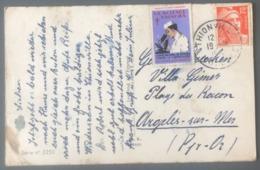 France N°885 Sur CPA - Vignette Tuberculose - De Thionville à Argelès S. Mer - (B2939) - Marcophilie (Lettres)