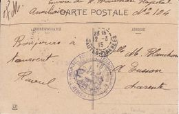 Cachet Hopital Auxiliaire  N104 Tarbes1915 - Marcophilie (Lettres)