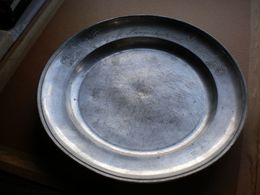 Old Plate Daniel Ley Fein Zinn G M Langenbuch 1855 Diameter 22 Cm - Etains