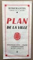ROMORANTIN CAPITALE DE LA SOLOGNE PLAN DE LA VILLE - LOIR ET CHER - ANNEES 1950 - Dépliants Turistici