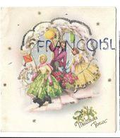 Famille Belle-époque, Bouquet De Fleurs Et Lanternes, Dorée, Paillettes. - Neujahr