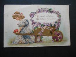 Petite Fille élégante Assise Sur Brouette Pleine De Violettes - Dorure - Gaufrée - N° 189 - Enfants